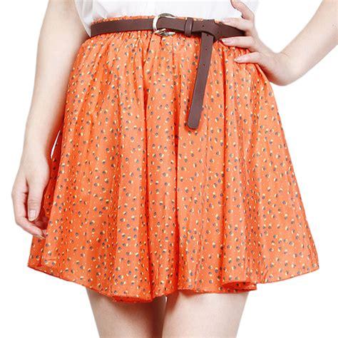 cute patterned mini skirt fashion 4 colors pleated floral chiffon women ladies cute