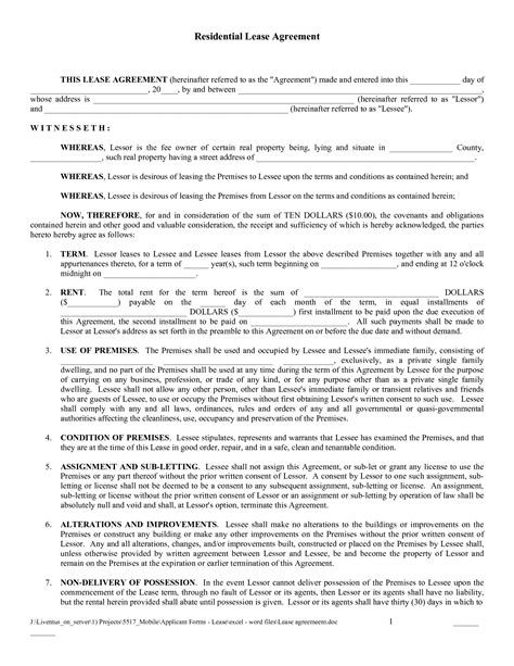 Free Copy Rental Lease Agreement Free Printable Lease Agreement Download As Pdf Rental Free House Rental Lease Template