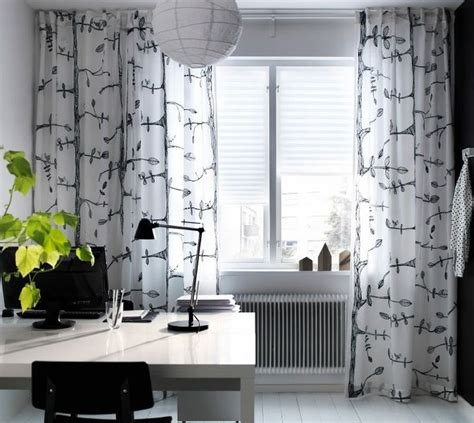 bird curtains drapes ikea eivor curtains drapes white black bird leaf garden design