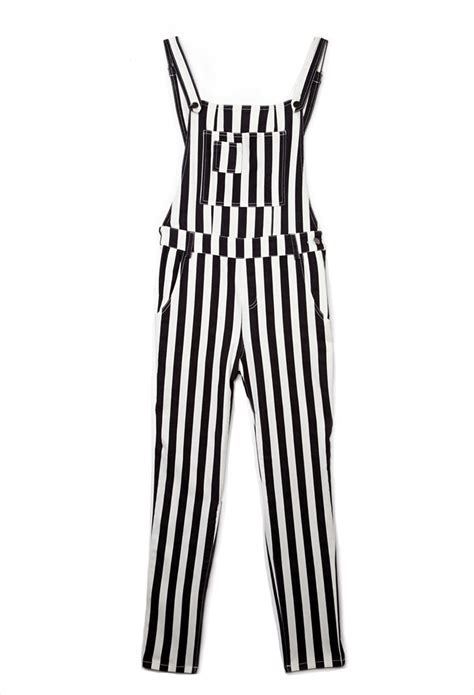 Overall Stripe Black lyst forever 21 standout striped overalls in black