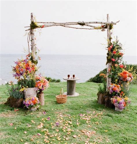 Surround the ceremony backdrop space with potted plants of