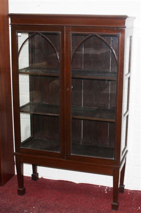small display cabinet mahogany indonesia furniture a small gothic style mahogany display cabinet wit