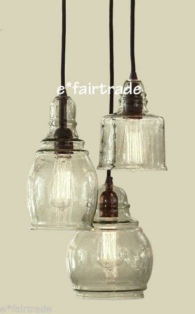 Paxton Glass 3 Light Pendant Pottery Barn Paxton Glass 3 Light Pendant Chandelier New