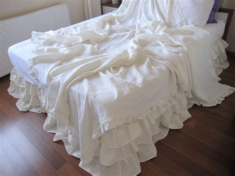 ruffled coverlet shabby chic ruffle bedding solid white ivory pink gray linen