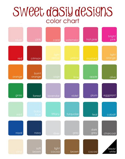 sweet designs 2013 updated color chart