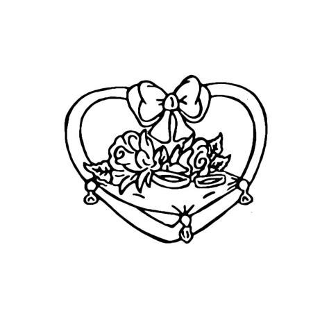 Coloriage Coeur Coussin Et Alliances A Imprimer Gratuit
