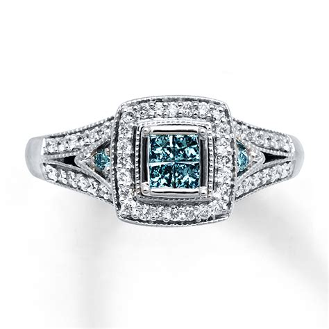 blue engagement rings diamondstud