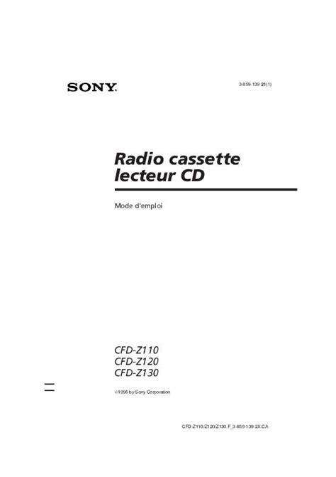 Notice SONY CFD-Z110 - radio cd Trouver une solution à un