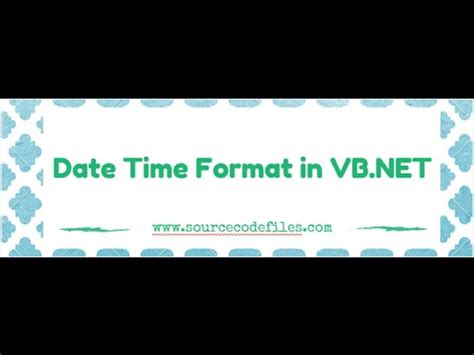 format date vb net date time format in vb net youtube
