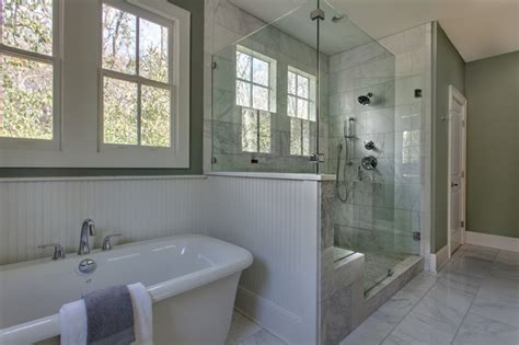 Bathroom Shower Remodel Ideas classic white marble master bath with painted beadboard