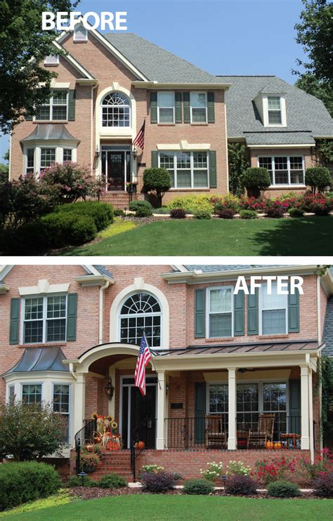 a front porch addition featuring a metal roof and arched entry lend a modern take on a