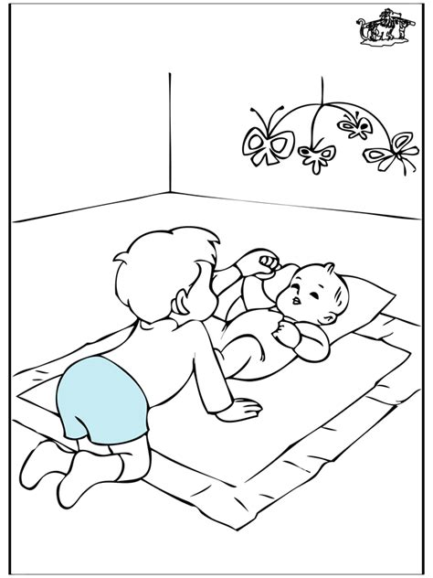 free coloring pages of big sister with baby