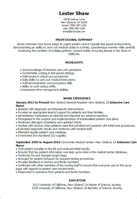 Resume Exles For Nurses In Icu Professional Intensive Care Templates To Showcase Your Talent Myperfectresume