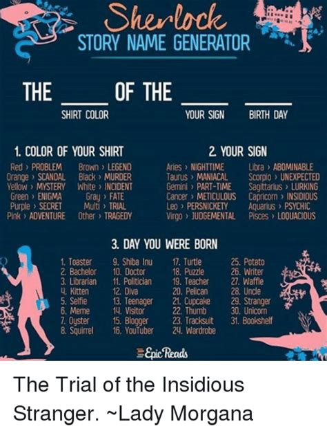 color name generator story name generator the of the shirt color your sign