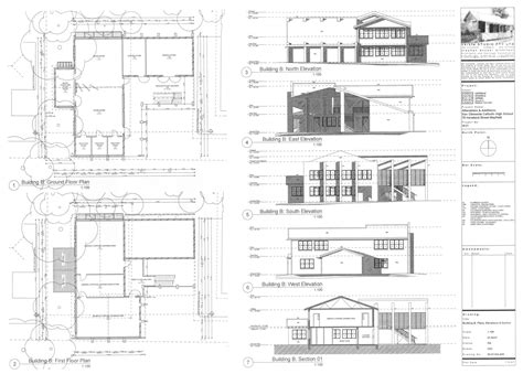 plan elevation and section of residential building 2007 extensions