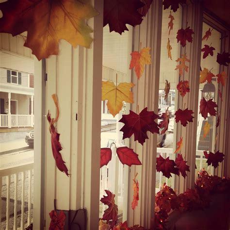 windows decoration fall bay window decorating idea fabric leaves tied onto