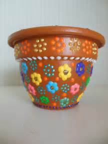 Pot Designs Items Similar To Painted Flower Pot With Small Floral