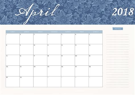 wall calendar templates april 2018 wall calendar max calendars