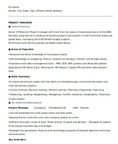 Executive Summary For Resume by 8 Sle Executive Summary Resumes Sle Templates