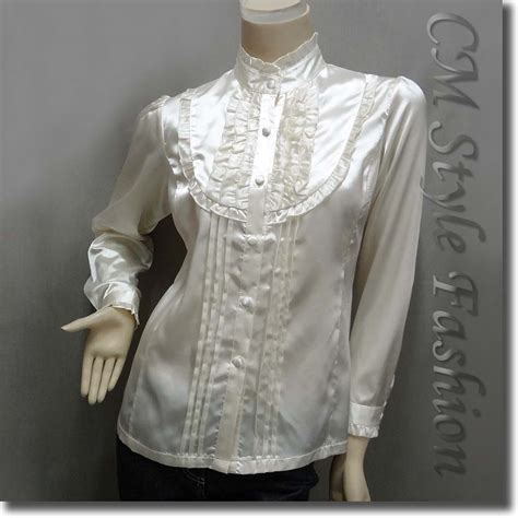 Blouse Satin Elegan style ruffled satin blouse shirt top white s l xl ebay