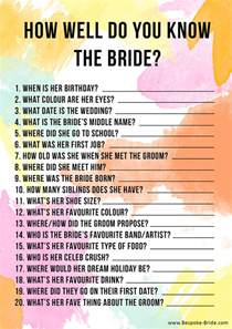FREE PRINTABLE 'HOW WELL DO YOU KNOW THE BRIDE?' HEN PARTY