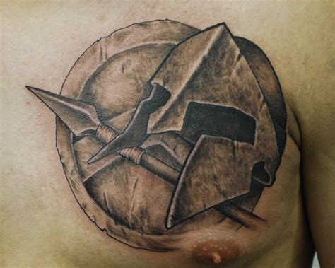 spartan shield tattoo spartan chest tattoos artwork by josh hansen