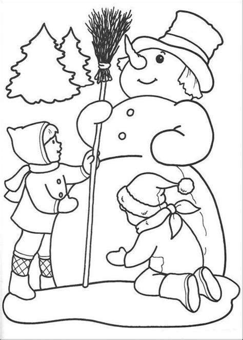 winter coloring pages pdf download winter coloring page kids are making snowman or