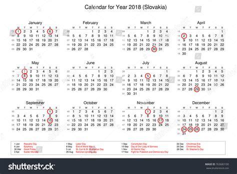 Slovakia Calend 2018 Calendar Year 2018 Holidays Bank Stock Illustration
