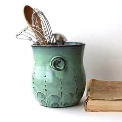 Unique Kitchen Utensils by Monogram Kitchen Utensil Holder Aqua Mist Large Size