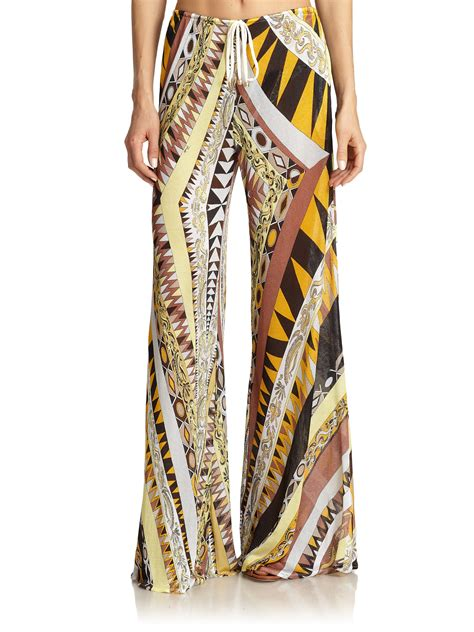 brown patterned pants lyst emilio pucci geometric patterned palazzo pants in brown