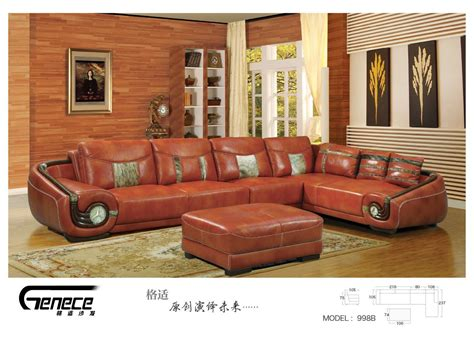 China Wood Furniture Leather Sofa Furniture 998b Wood Leather Sofa
