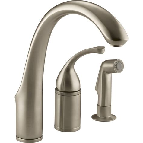 three kitchen faucets kohler faucet k 10430 g forte brushed chrome one handle with sidespray kitchen faucets