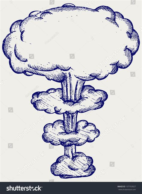 doodle version atomic explosion doodle style raster version stock photo