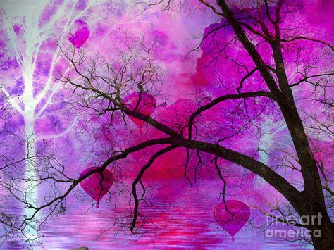 pink and purple tree surreal pink purple tree with balloons photograph