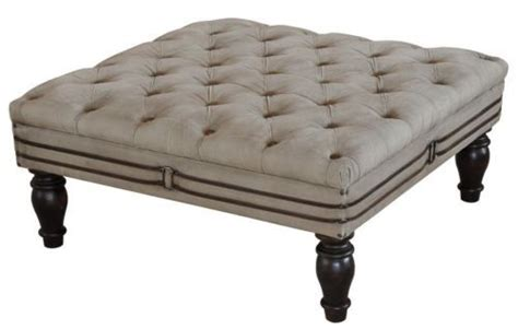 square leather tufted ottoman tan canvas leather square tufted large ottoman 35 quot w x 35 quot d