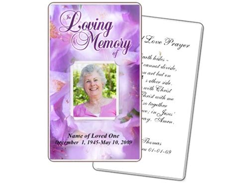 prayer card template lavender floral prayer cards