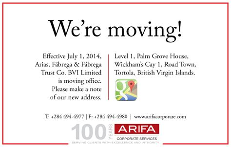 Arifa About The Firm News Arifa Bvi Office Move Announcement We Moved Email Template
