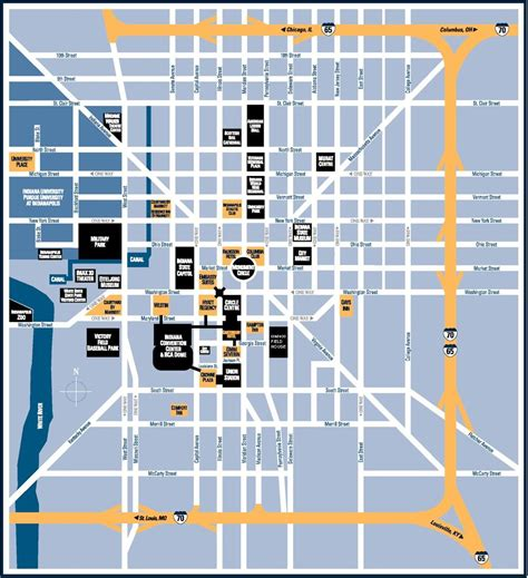 indianapolis tourist map indianapolis mappery