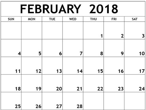 Calendar 2018 Feb Free February 2018 Calendar Pdf Printable Printable