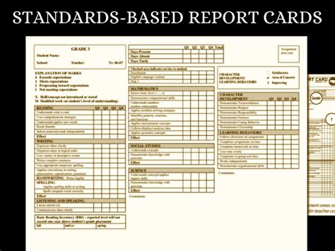 Infinite Cus Report Card Template Standards Based Report Card Sles 28 Images Standards