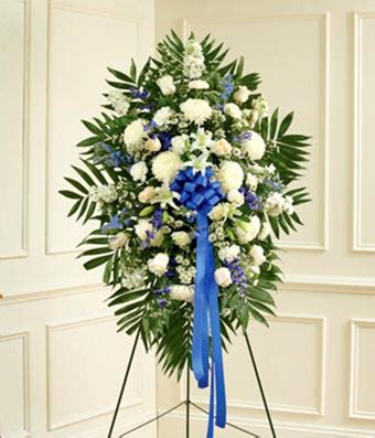 blue & white sympathy standing spray at from you flowers