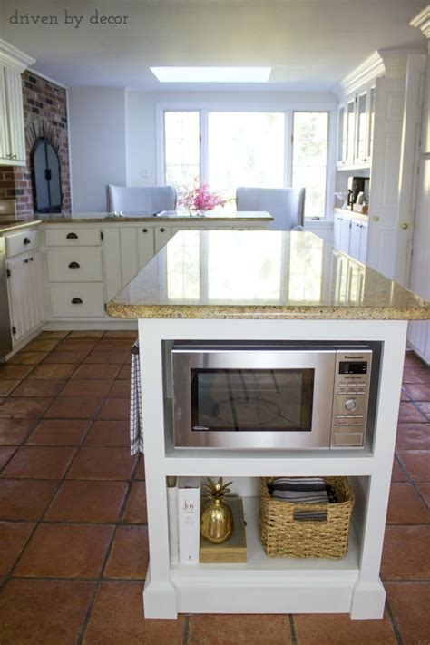microwave in island in kitchen our remodeled kitchen island with built in microwave shelf