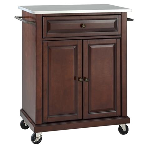 stainless steel portable kitchen island stainless steel top portable kitchen cart island casters mahogany dcg stores