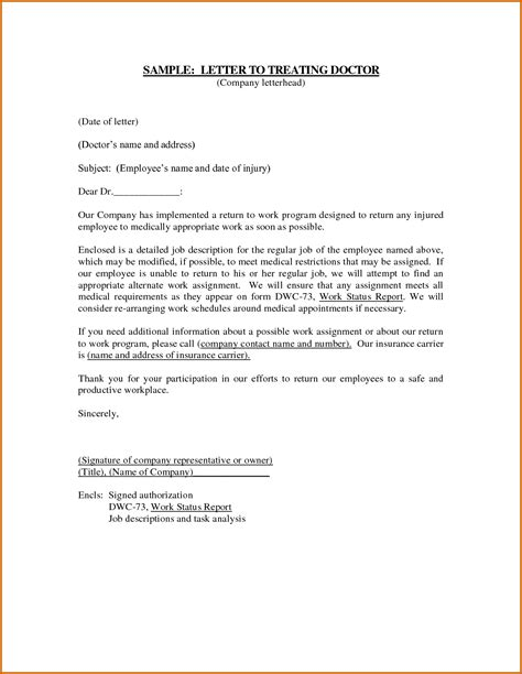 Letter For Work From Doctor 7 Sle Return To Work Letter From Doctor Lease Template