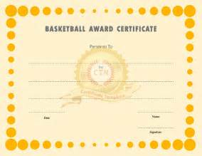Award Certificate Template by Basketball Award Certificate Templates Certificate Template