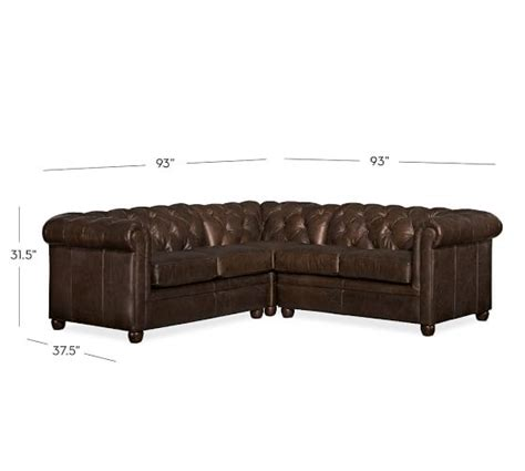 leather chesterfield sectional chesterfield leather 3 piece l shaped sectional pottery barn