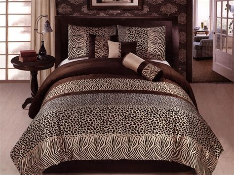 safari comforter set 7 pc micro fur african safari animal skin comforter set
