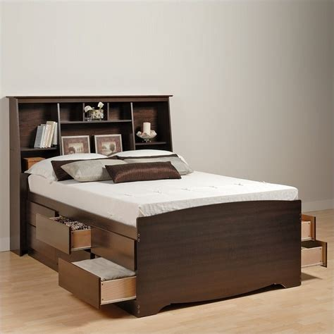 double beds with storage manhattan tall twin bookcase platform storage bed in
