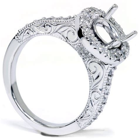 vintage 1 2ct halo engagement ring setting white gold
