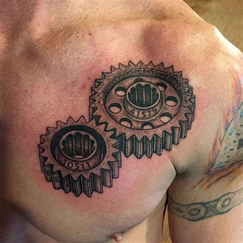 gears tattoo designs gears on chest done by myers gears